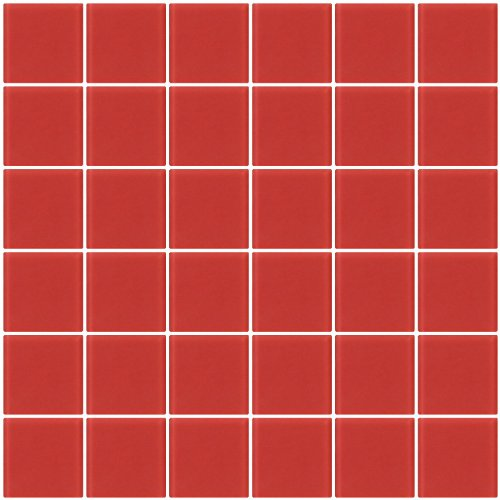 Susan Jablon Mosaics - 2x2 Inch Red Brick Frosted Glass Tile