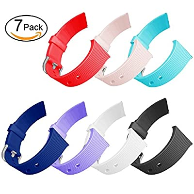 GHIJKL Compatible Fitbit Blaze Slim Bands 7 Pack, TPU Replacement Sport Strap Fitbit Blaze Smart Fitness Watch, Large Small