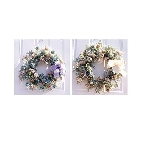 Minelody Artificial Green Leaves Wreath, Silk Fall Door Wreath Scallion Ball Hanging Wall Window Party Decoration for Powder Blue, Champagne White, Winter Jasmine, Rose and Rich Peony Flower