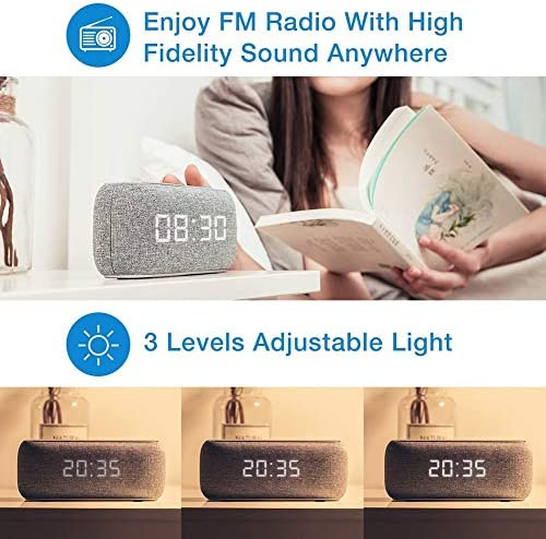 Costrov 10w Bluetooth 4.2 Portable Fabric Speaker 20 Hours Play Time, Hd Sound and Enhanced Bass with Digital Alarm Clock, Date time Digital Display and Fm Radio, M29,Gray