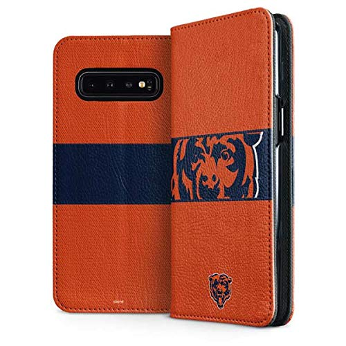 Skinit Chicago Bears Galaxy S10 Folio Case - Officially Licensed NFL Phone Case - Faux-Leather Wallet Galaxy S10 Cover