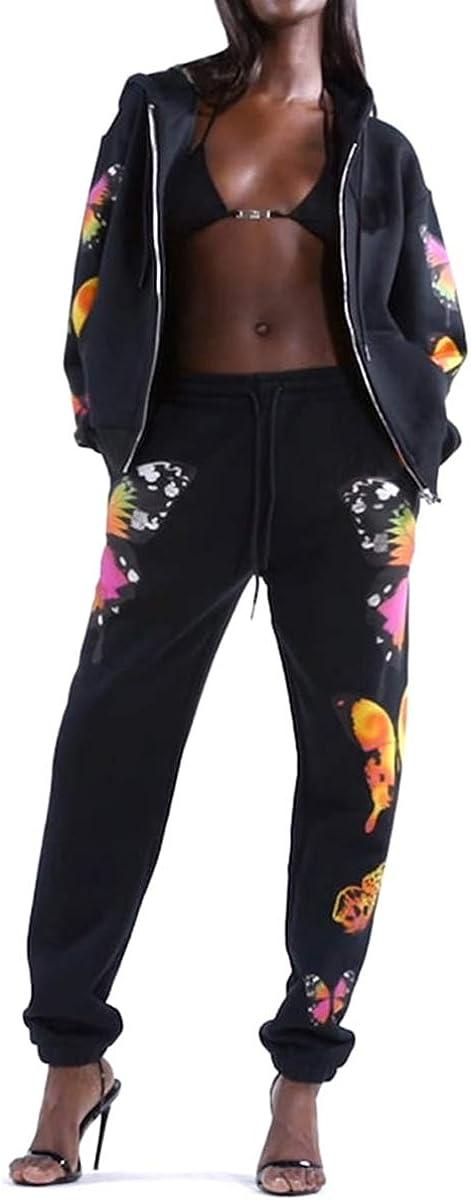 Allenamento chaochao Tuta per Donna Set da 2 Pezzi Tute Sportive a Manica Lunga Palestra Pantaloni Lunghi con Farfalla per Casual