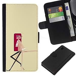 Stuss Case / Funda Carcasa PU de Cuero - Dibujo Redhead minimalista amarillo - Sony Xperia Z1 L39