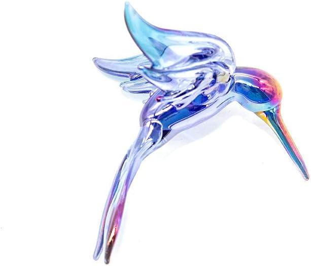 Hummingbird Lampwork Glass Ornament - Blue Carnival