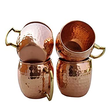 STREET CRAFT Set of 4 Handmade Hammered Pure Copper Moscow Mule Mugs with Brass Handle Capacity 16 Ounce
