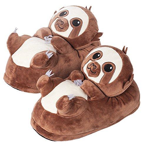 Sloth Costume Ideas (corimori 1847 - Sloth Henry Cute Plush 3D Animal Shaped Slippers, Funny Lounge Shoes, Childrens Sizes)