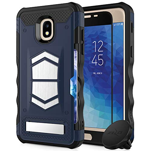 - Zizo Electro Series Compatible with Galaxy Amp Prime 3 Case with Tempered Glass Screen Protector Card Slot and Air Vent Magnetic Holder DarkBlue Black