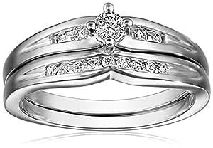 10k White Gold Diamond Bridal Set (1/4 cttw, H-I Color, I2-I3 Clarity)