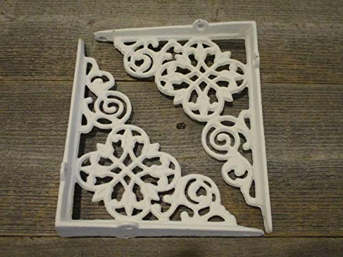 4 CAST Iron White Wall Shelf Brackets CORBELS
