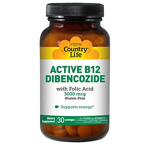 Country Life Active B-12 (Dibencozide 3,000 Mcg) with Folic Acid (Sublingual Lozenges), 30-Count