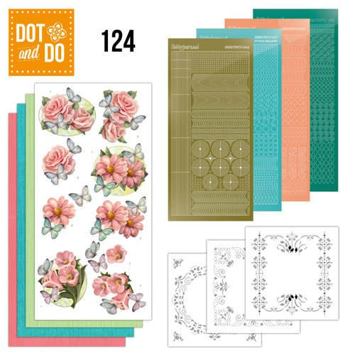 Hobbydots Dot and Do Nr. 124 Card Kit Pink Flowers and Butterflies Stickers, 3D Image & Layered Cards