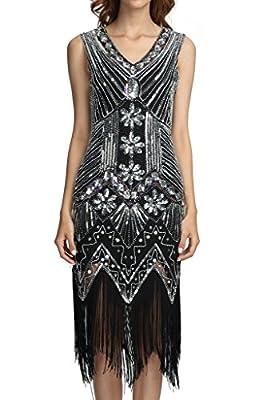 Deargles Women 1920s Gastby Sequined Art Nouveau Embellished Fringed Flapper Dress
