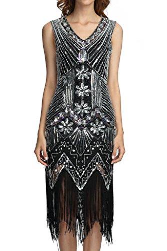 Deargles Women 1920s Gastby Sequined Art Nouveau Embellished Fringed Flapper Dress XPR003 Black Silver (Black And Silver Sequin Dress)