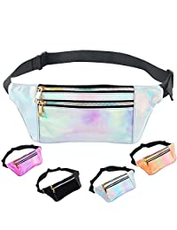 iAbler Holographic Fanny Pack for Women and Men Metallic 80s Waterproof Shiny Fanny Packs with Adjustable Belt Fashion Waist Bum Bag for Party, Festival, Rave, Hiking, Trip