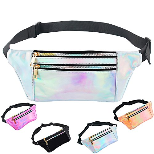 iAbler Holographic Fanny Pack for Women and Men Metallic 80s Waterproof Shiny Fanny Packs with Adjustable Belt Fashion Waist Bum Bag for Party, Festival, Rave, Hiking, Trip -
