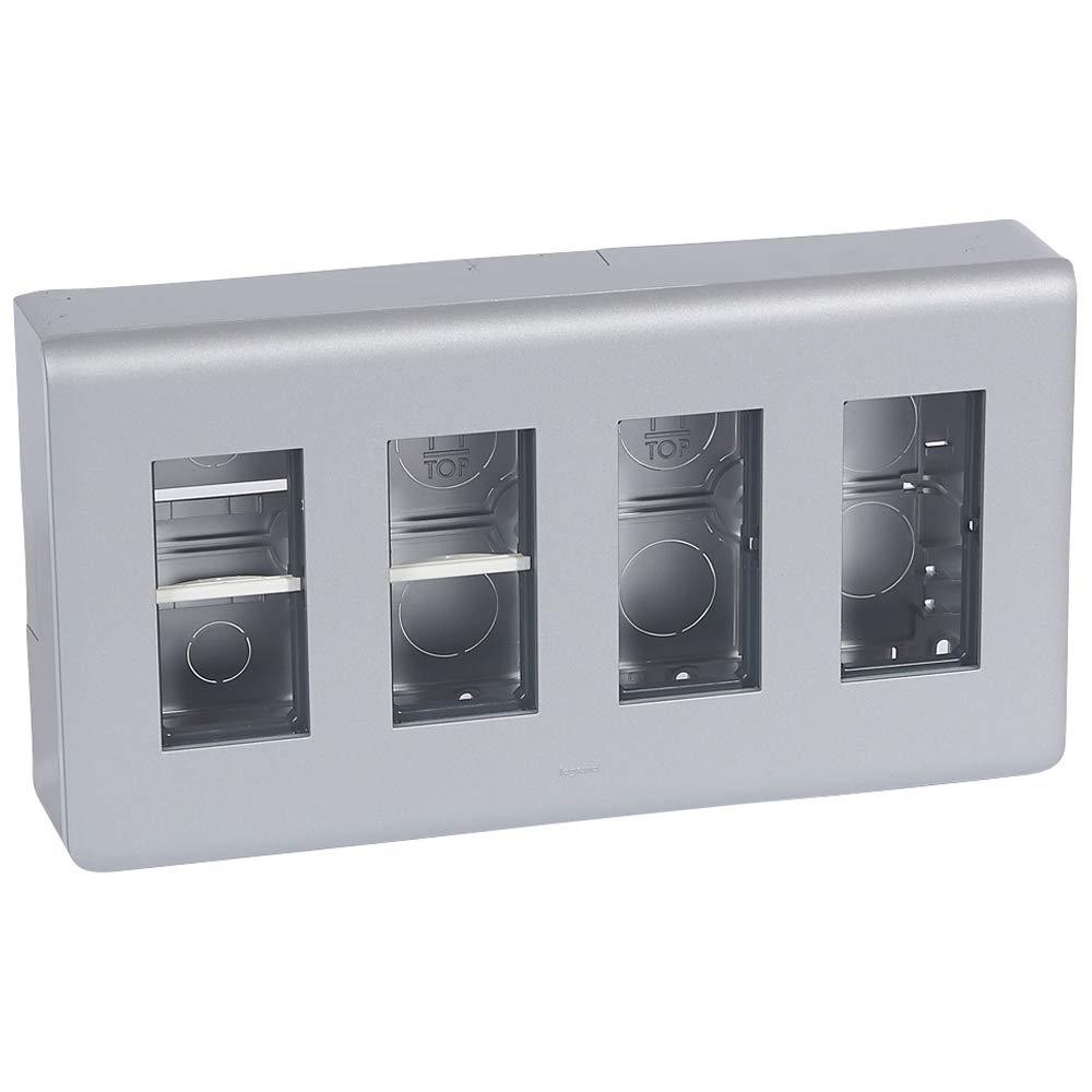 Legrand - Caja mecanismo superficie mosaic-ii 4 columnas aluminio ...