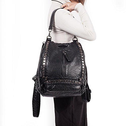 Leather Bag Vintage Bag UBORSE Messenger Backpack Crossbody Washed For Handbag Satchel Black Shoulder Women XIw65qn6