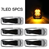 SaiDeng 5Pcs Amber Top Cab Marker Lights 7LED Chrome Surface Mount Clearance Roof Running Top Light Lamps Clear Lens Assembly for Truck Trailer Peterbilt Kenworth Freightliner Mack Western Star