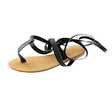 09b9805a196c Image Unavailable. Image not available for. Color  Women High Lace Up Flat  Sandal - Ladies T-Strap Gladiator Flip Flop - Summer