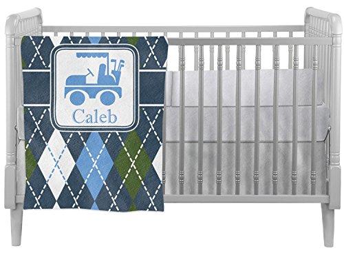 Blue Argyle Crib Comforter / Quilt - Green Argyle Blue