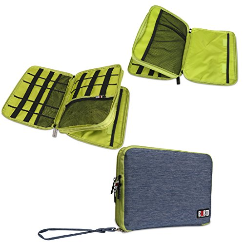 BUBM Large Double Layer Electronics Accessories Bag Travel Gear Organizer Phone Charger Cable Storage Bag (Blue&Green)