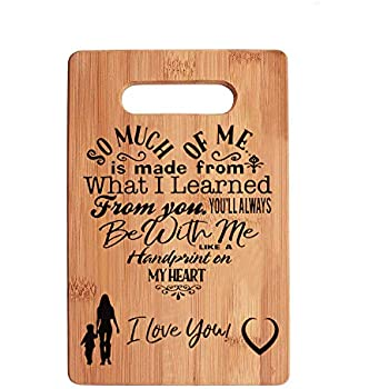 Mothers Present Special Love Heart Poem Bamboo Cutting Board Mom Present Mother Day Mom Birthday Holiday Engraved Side For Decor Display Or Hanging