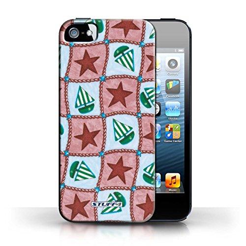 Etui / Coque pour Apple iPhone 5/5S / Rouge/Vert conception / Collection de Bateaux étoiles