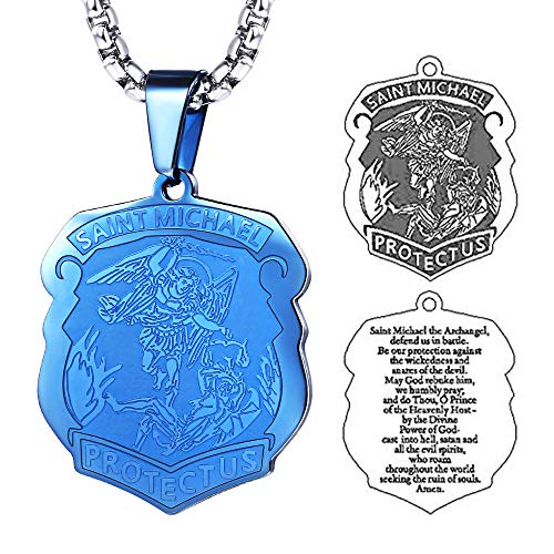 FaithHeart Saint Michael Pendant Stainless Steel St. Michael The Archangel Necklace Jewelry (Blue)
