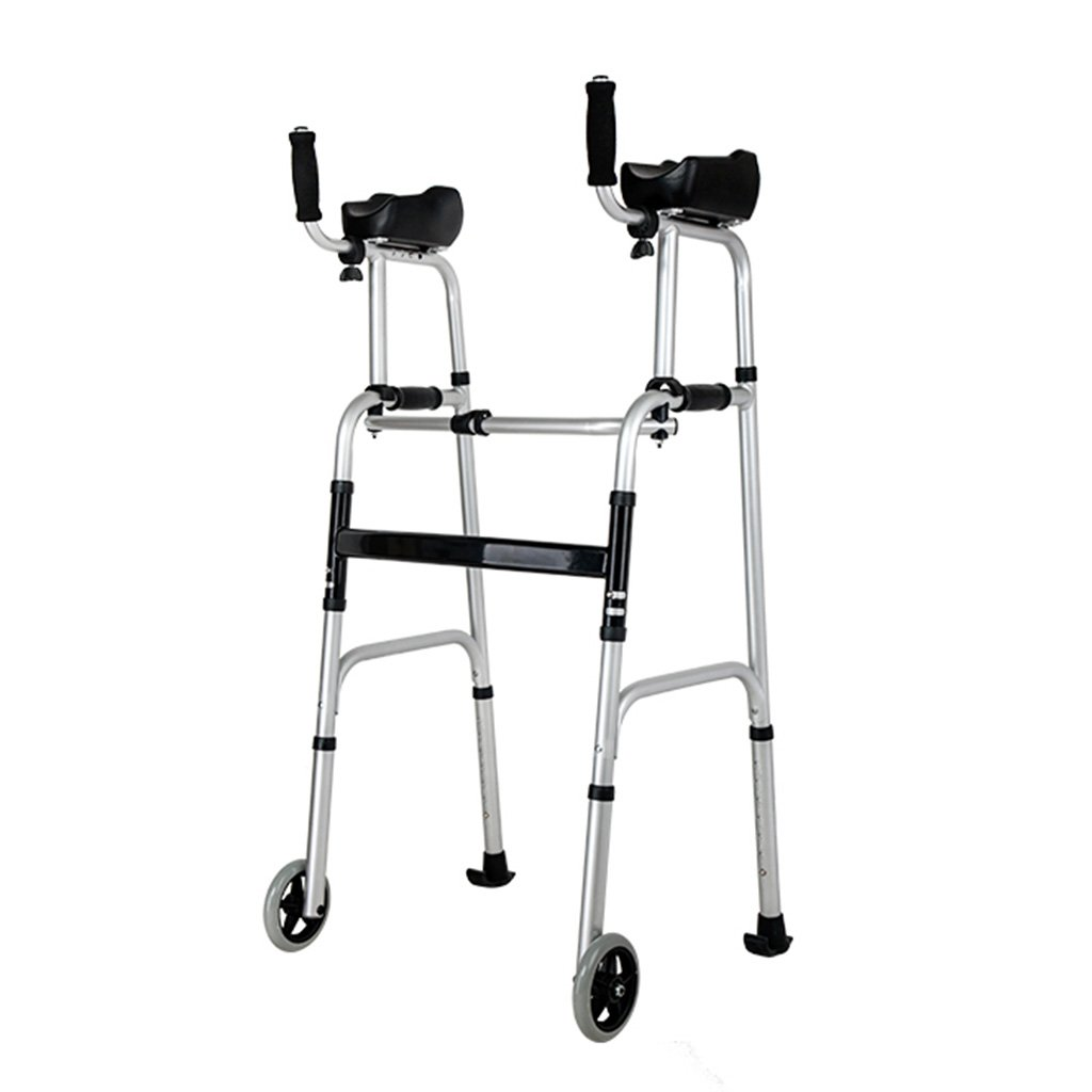 Standard Walkers Foldable Walker Adjustable Walking Assist Equipped Wheels equipped with arm rest pad for the elderly and people with limited mobility bearing 100KG silver (Color : Normal) by Standard Walkers