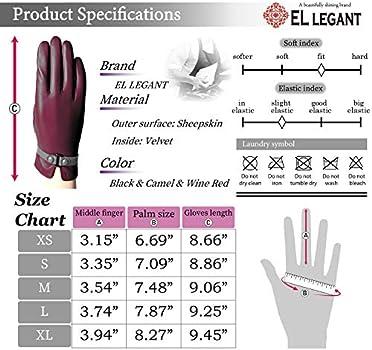 El Legant Genuine Leather Gloves Women Touchscreen Winter Sheepskin Gloves Warm Velvet Lined Small Belt D Wine Red Buy Online At Best Price In Uae Amazon Ae