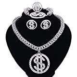 Dollar Sign Pendant Necklace Earring Bracelet Ring Gold Plated Chain For Women/Men Rhinestone Hip Hop Jewelry Set (silver)