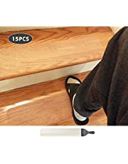 """15-Pack(4""""x 24""""),Non-Slip Clear Adhesive Stair Treads,Translucent Safety Stair Traction Hardwood Treads,PVC-Free Anti Slip Clear Adhesive Strips,Baby/Elder/Pet Safety,Indoor/Outdoor"""