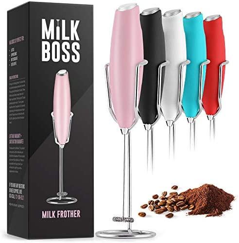 Milk Boss Powerful Milk Frother Handheld With Upgraded Holster Stand - Coffee Frother Electric Handheld Foam Maker - Milk Frother For Coffee, Lattes, Matcha & More - Electric Whisk Frother (Pink)