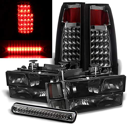Xtune for 1994-1998 Chevy C10 C/K Suburban Smoked Headlights Set + LED Tail Lights + LED 3rd Brake Lamp 1995 1996 1997