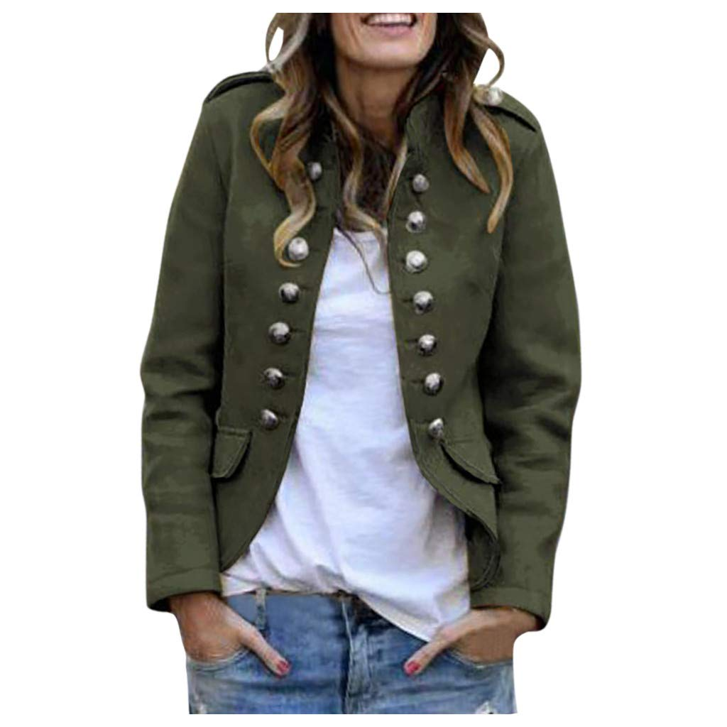 Funnygals - Womens Military Blazer Buttons Decorated Open Front Jacket Slim Fit Casual Long Sleeve Coat Cardigan Outwear Army Green by Funnygals - Clothing