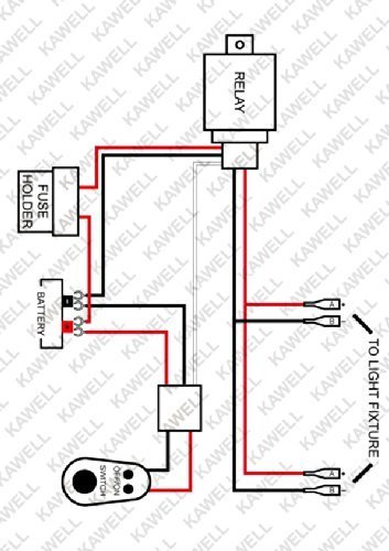 kawell universal 2 lead led light bar wiring harness kit with fuse relay on switch for led