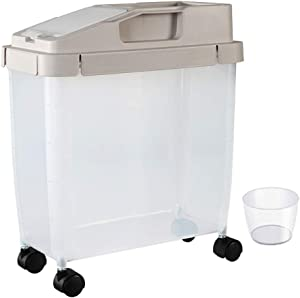 Zaop 20Lbs Airtight Rice Container with Detachable Wheels, Dry Food Cereal Beans Storage Container Sealed Cat Dog Pet Food Bin Tank