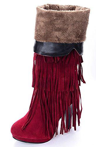 franja Caliente de alta stilettos la altos rodilla Rojo tacones borlas botas Odema de Mujer SgWw5vcnq0