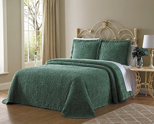 (Ellison Wedding Ring Chenille, King, Aqua Bedspread)