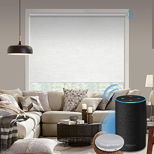Graywind Motorized 100% Blackout Roller Shade with Alexa Google Smart Home Control Build-in Power Window Shades Thermal Insulated Cordless Window Blinds, Customized Size (Jacquard White)