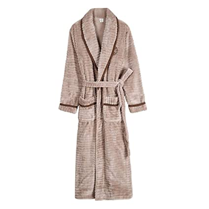 4db6d6c10e5b HGDR Men s Long Dressing Gown Winter Warm Fleece Bathrobe Housecoat Shawl  Collar Soft Sleepwear Loungewear