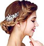 Women's Flowers Pearls Rhinestones Bridal Wedding Hairpiece with Comb,White