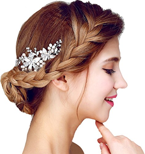 Womens Flowers Pearls Rhinestones Bridal Wedding Hairpiece with Comb