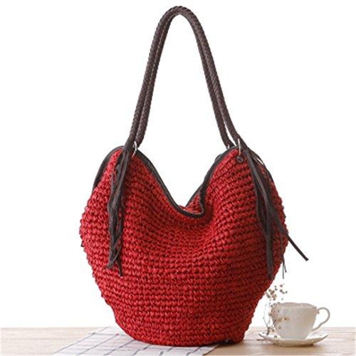 3d702fd78558 BoBoSaLa Fashion Octopods Tassel Woven Rattan Bag Casual Beach Bag Trend  Bolsas Femininas Women Handbag Bucket Bag Straw Bags Red