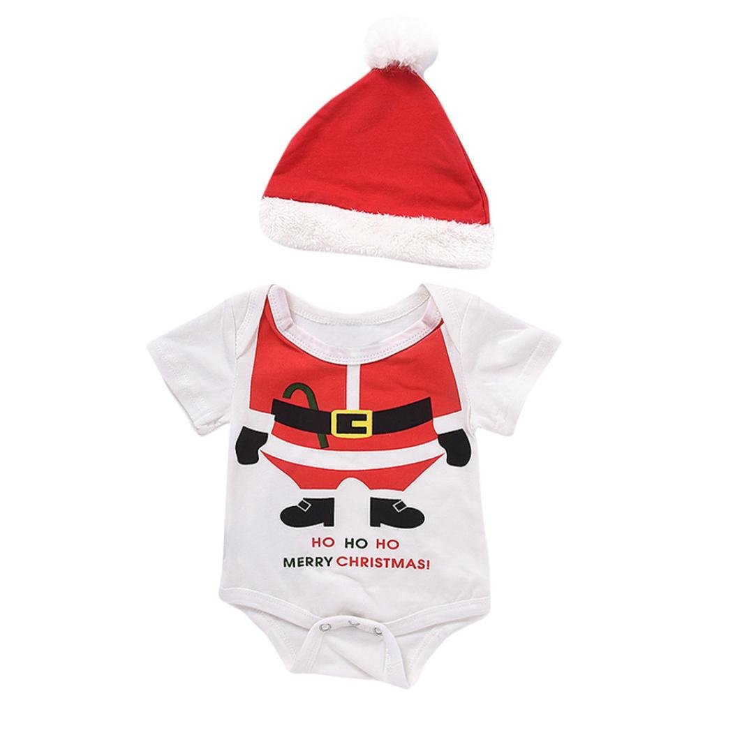 ANBOO 2Pcs Newborn Baby Christmas Santa Outfits Clothes Rompers+Hat Set (12M)