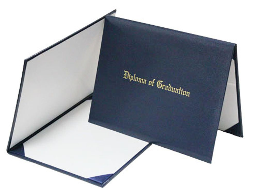 GraduationMall Handcrafted Imprinted Diploma Cover 6'' x 8'' (navy)