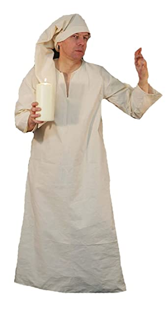 Victorian Men's Costumes: Mad Hatter, Rhet Butler, Willy Wonka Panto-Dickens-A Christmas Carol-Scrooge-Wee Willie Winkie NIGHTSHIRT / NIGHTGOWN & CAP Unisex Fancy Dress Costume - All Size $60.00 AT vintagedancer.com