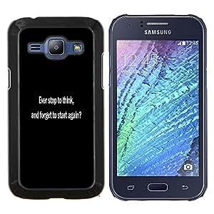 KLONGSHOP // Cubierta de piel con cierre a presión Shell trasero duro de goma Protección Caso - NUNCA se detienen a pensar - Samsung Galaxy J1 J100 //