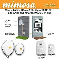 Mimosa C5 Client Device 5Ghz Gigabit Fiber Speeds 2UNITS + G2 PoE 48v NA MIMO 16dBm 2UNITS