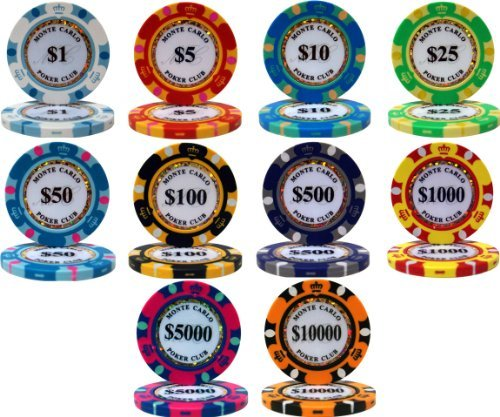 (Monte Carlo 14gm Clay Poker Chip Sample Set - 10 New Chips)